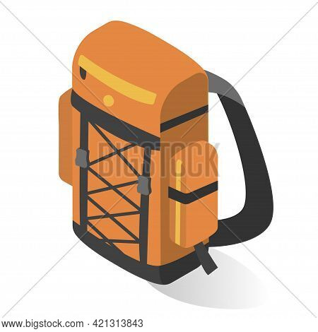 Orange Camping Backpack Vector Flat Illustration. Casual Back For Active Travel Outdoor Recreation
