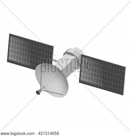 Space Satellite Vector Flat Isometric Illustration. Flying Orbital Telecommunication Connection