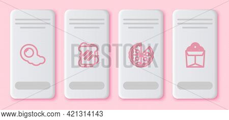 Set Line Scrambled Eggs, Sandwich, Pizza And Noodles In Box. White Rectangle Button. Vector