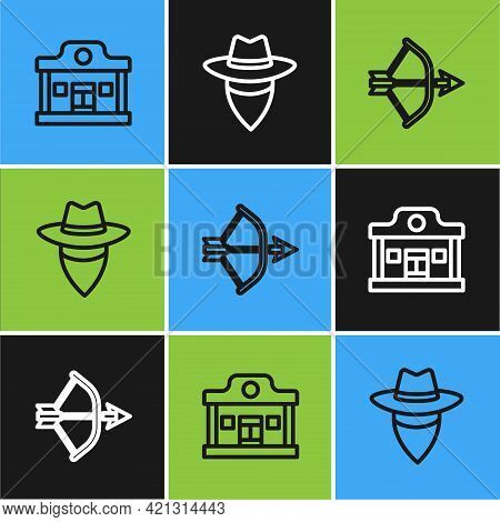 Set Line Wild West Saloon, Bow And Arrow In Quiver And Cowboy Icon. Vector