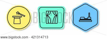 Set Line Magic Hat And Wand, Circus Curtain Raises And Bumper Car. Colored Shapes. Vector