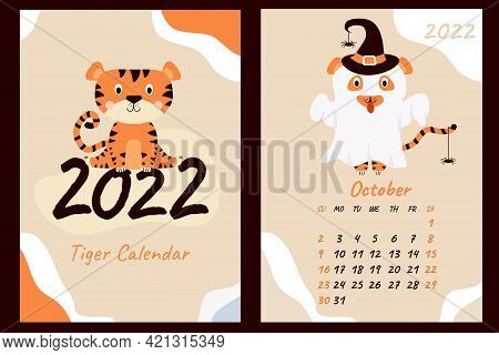 Set - October 2022 Calendar And Cover. Cute Ghost Tiger In A Hat With Spiders, Halloween Holiday. Ye