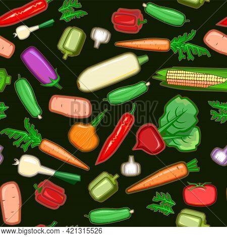 Garden Vegetables. Cartoon Flat Style. Zucchini, Cucumber, Carrots, Peppers, Potatoes, Onions, Garli