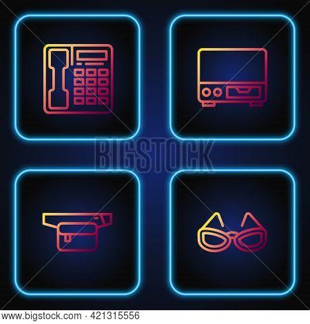 Set Line Glasses, Waist Bag Of Banana, Telephone Handset And Old Video Cassette Player. Gradient Col