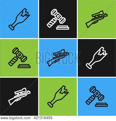 Set Line Broken Bottle As Weapon, Sniper Rifle With Scope And Judge Gavel Icon. Vector