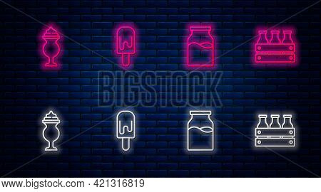Set Line Ice Cream, Bottle With Milk, Milkshake And Bottled In Wooden Box. Glowing Neon Icon On Bric