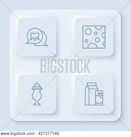 Set Line Udder, Cheese, Milkshake And Paper Package For Kefir. White Square Button. Vector