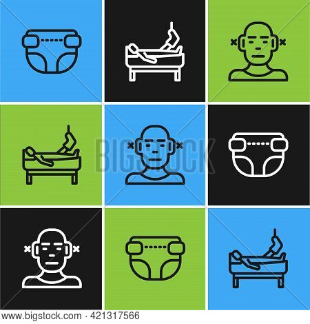 Set Line Adult Diaper, Deaf And Patient With Broken Leg Icon. Vector