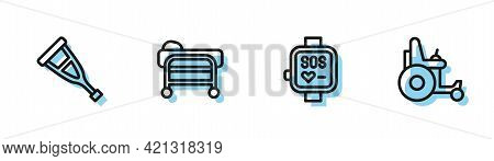 Set Line Smart Watch, Crutch Or Crutches, Stretcher And Electric Wheelchair Icon. Vector
