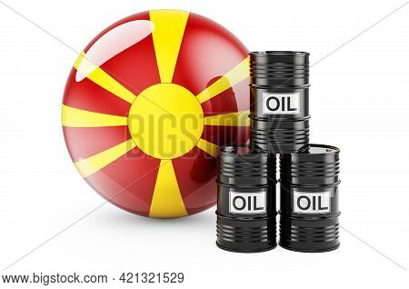 Oil Barrels With Macedonian Flag. Oil Production Or Trade In Macedonia Concept, 3d Rendering Isolate