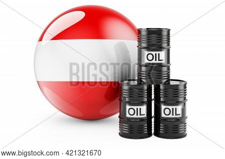 Oil Barrels With Austrian Flag. Oil Production Or Trade In Austria Concept, 3d Rendering Isolated On
