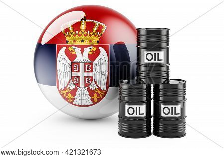 Oil Barrels With Serbian Flag. Oil Production Or Trade In Serbia Concept, 3d Rendering Isolated On W