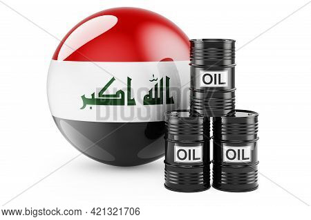 Oil Barrels With Iraqi Flag. Oil Production Or Trade In Iraq Concept, 3d Rendering Isolated On White