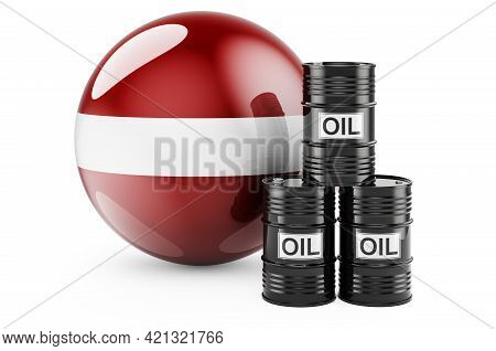 Oil Barrels With Latvian Flag. Oil Production Or Trade In Latvia Concept, 3d Rendering Isolated On W
