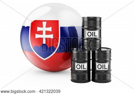 Oil Barrels With Slovak Flag. Oil Production Or Trade In Slovakia Concept, 3d Rendering Isolated On