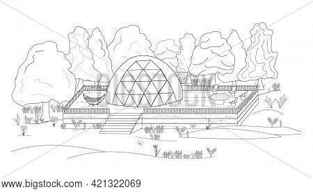 Glamping Coloring Book. A Glamorous Camping Area In The Shape Of A Sphere For Outdoor Recreation Wit