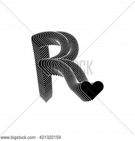 R Letter Logo Lettermark Monogram - Typeface Type Emblem Character Trademark Heart