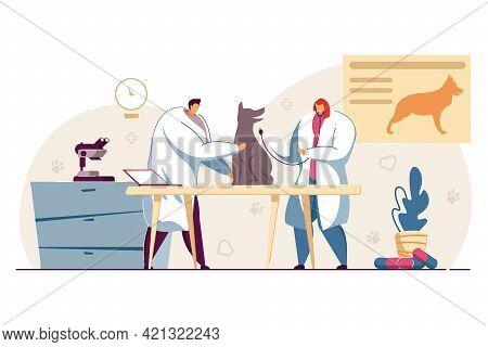 Two Veterinarians Examining Dog At Veterinary Clinic. Flat Vector Illustration..doctors In Office Ca