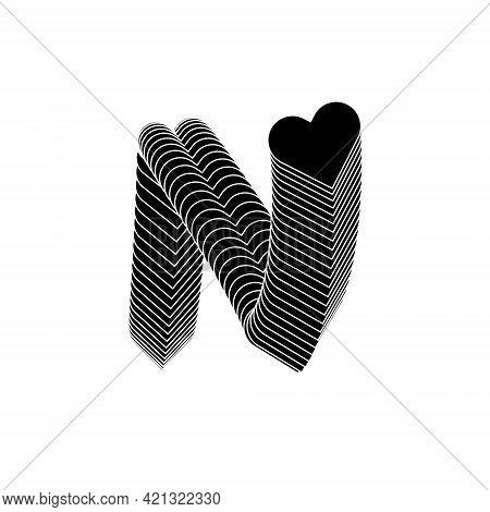 N Letter Logo Lettermark Monogram - Typeface Type Emblem Character Trademark Heart Letter