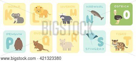 Cute K-t Alphabet Cards With Cartoon Savannah African Animals. Vector Zoo Illustrations. Koala, Lion