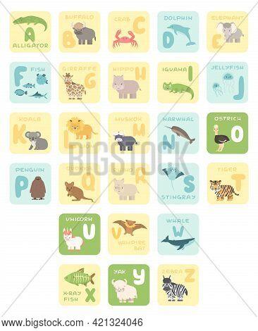 Cute A-z Alphabet Cards With Cartoon Animals. Vector Zoo Illustrations. Alligator, Buffalo, Crab, Do