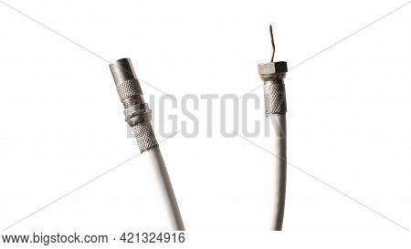 Cord For Antenna And Tv. Antenna Pal Male Cable F-type Flylead Aerial Cord Coax Lead. Isolated On Wh