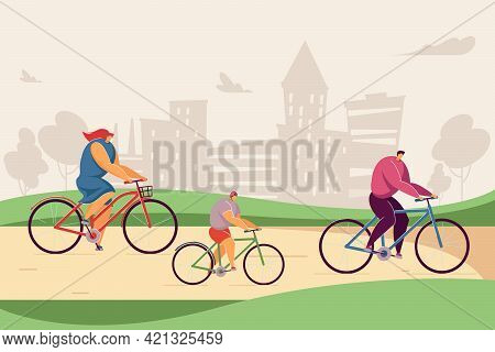 Happy Cartoon Family Riding Bikes Together In Park. Flat Vector Illustration. Mother, Father And Chi
