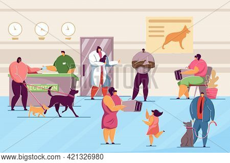 Animal Clinic With Pets And Visitors Flat Vector Illustration. Veterinary Hospital Interior With Doc