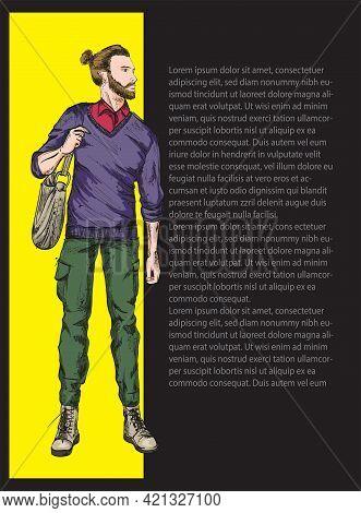 Fashion Man. Sketch Of Fashion Man On A White Background. Spring Man. Street Style