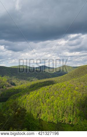 A Beautiful Panorama Near The Geiersteine Over The Palatinate Forest In Springtime
