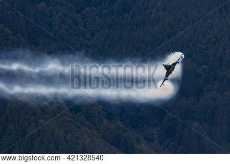 Zeltweg, Austria - September 6, 2019: Military Fighter Jet Plane At Air Base. Air Force Flight Opera