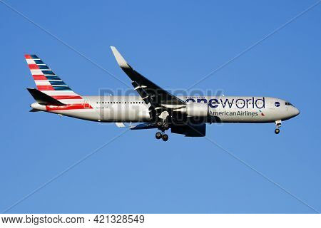 Madrid, Spain - May 3, 2016: American Airlines Passenger Plane At Airport. Schedule Flight Travel. A