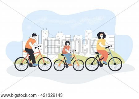 Happy Family Riding Bikes Together. Flat Vector Illustration. Mother, Father And Daughter On Bikes S