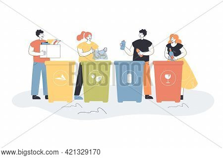 Cartoon People Sorting Trash Flat Vector Illustration. People Putting Garbage In Different Trash Can