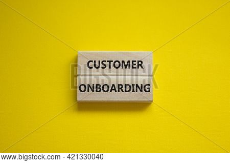 Customer Onboarding Success Symbol. Wooden Blocks With Words 'customer Onboarding' On Beautiful Yell