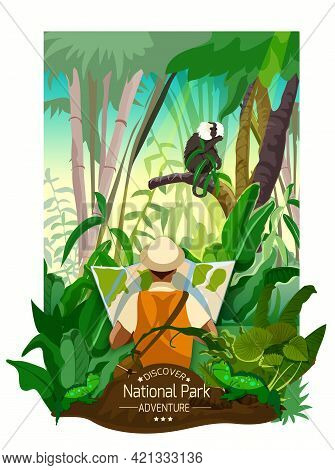 Colorful Tropical Forest Landscape Poster With Thickets Monkey On Branch And Traveler With Map In Ca