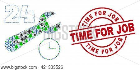 Winter Coronavirus Mosaic 24-7 Repair Service, And Unclean Time For Job Red Round Stamp. Collage 24-