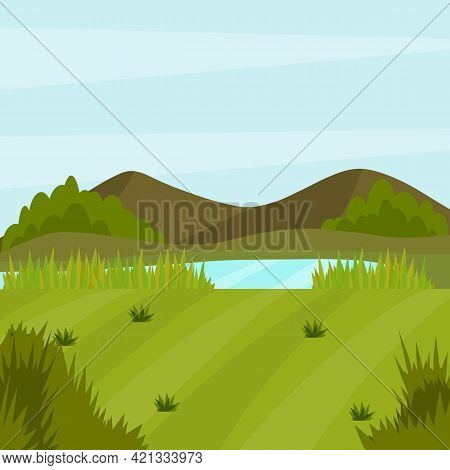 Forest Lake And Pond. Beautiful Summer Place To Relax And Landscape. Cartoon Flat Illustration