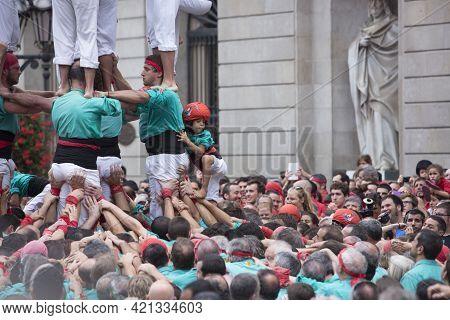 Barcelona, Spain, September 22 2019 - Vilafranca Castellers Team Castells Performance During Fiesta
