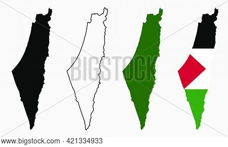 Set Vector Map Flag Of Palestine Isolated On White Background