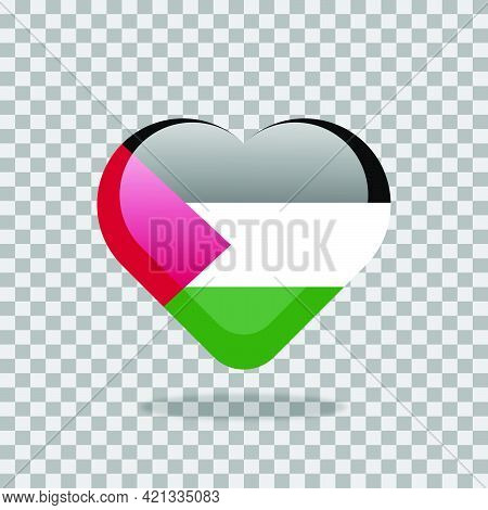 Love Palestine Symbol. Heart Flag Icon