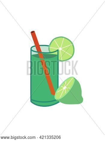 Mojito Cocktail. Glass Of Lime Drink, Lemonade With Straw, Isolated Vector Illustration.
