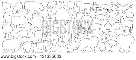 Big Set Of Doodle Cartoon Isolated African American Forest Animals Icons. Vector Outline Tiger Lion