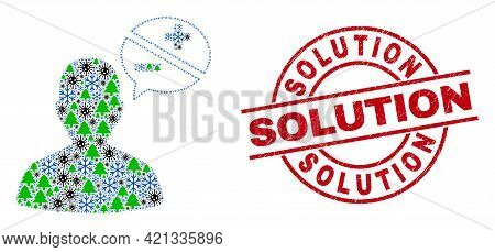 Winter Covid-2019 Mosaic Person Arguments, And Rubber Solution Red Round Watermark. Mosaic Person Ar