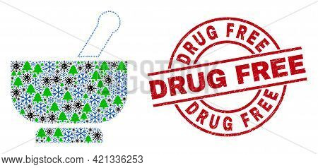 Winter Covid-2019 Collage Mortar, And Distress Drug Free Red Round Stamp. Collage Mortar Is Made Of