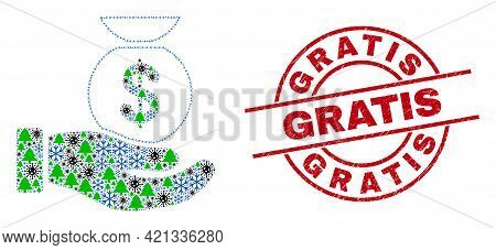 Winter Coronavirus Mosaic Financial Service Hand, And Scratched Gratis Red Round Seal. Mosaic Financ