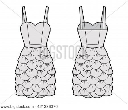 Dress Petal Chemise Technical Fashion Illustration With Thin Straps, Sleeveless, Fitted Body, Knee L