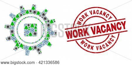 Winter Viral Collage Gear, And Textured Work Vacancy Red Round Stamp Seal. Mosaic Gear Is Created Of