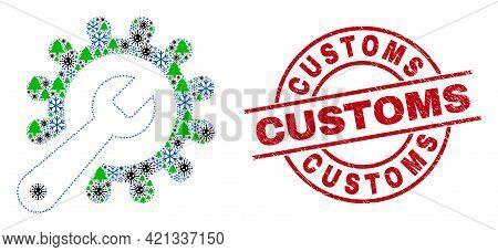 Winter Covid-2019 Mosaic Repair Tools, And Dirty Customs Red Round Watermark. Collage Repair Tools I