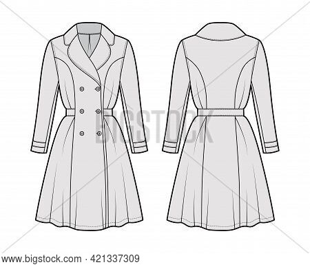 Dress Coat Trench Technical Fashion Illustration With Double Breasted, Long Sleeve, Fitted Body, Kne
